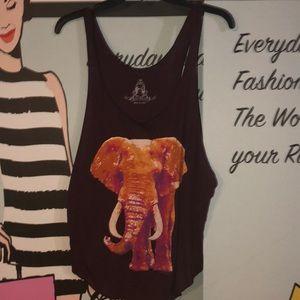 Lucky Elephant tank top Maroon Large